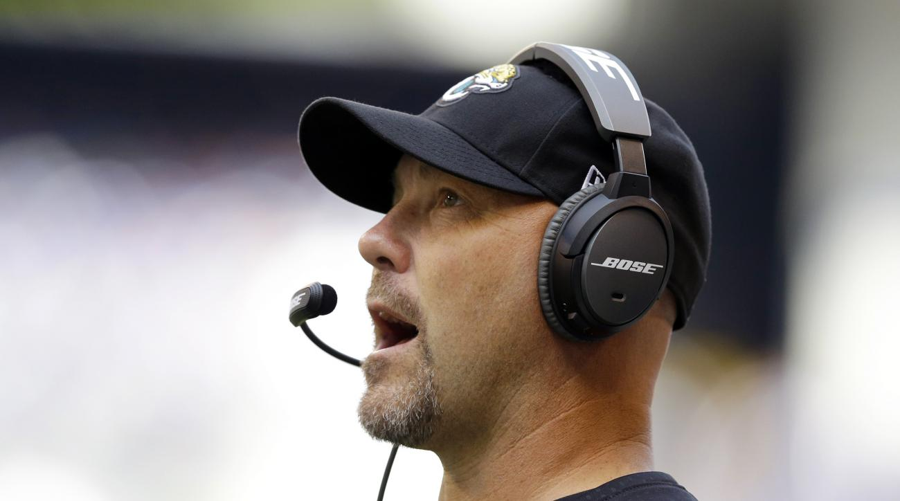 Jacksonville Jaguars head coach Gus Bradley watches the first half of an NFL football game against the Indianapolis Colts, Sunday, Oct. 4, 2015, in Indianapolis. (AP Photo/Michael Conroy)