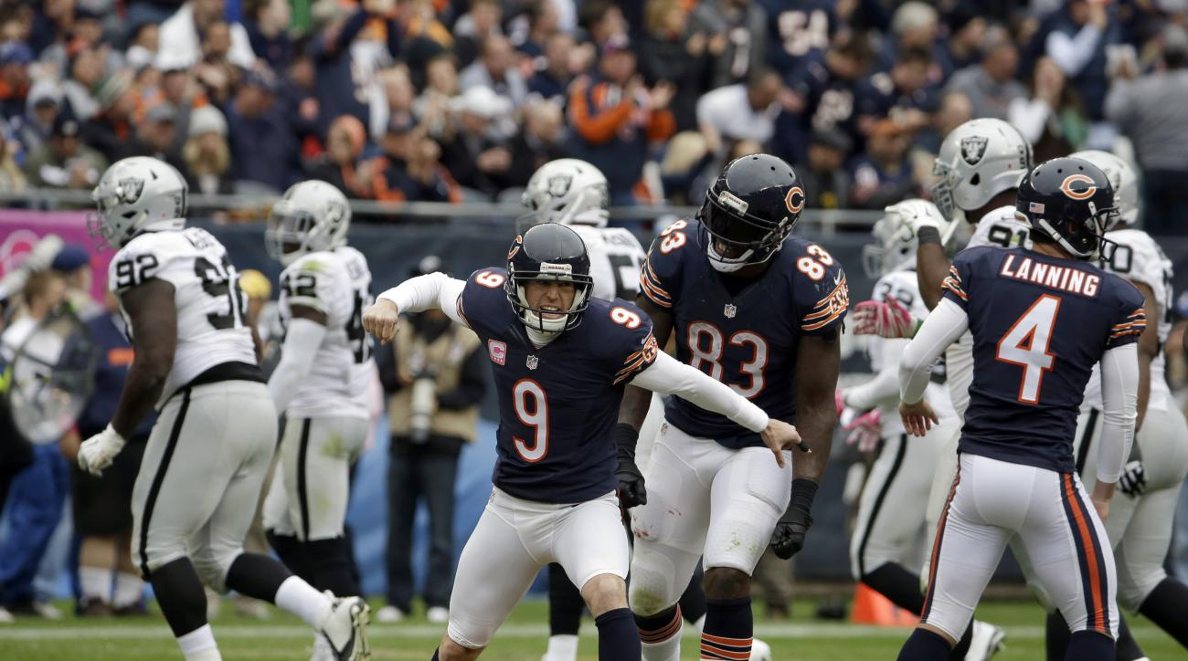 Chicago Bears kicker Robbie Gould (9) celebrates a field goal during the second half of an NFL football game against the Oakland Raiders, Sunday, Oct. 4, 2015, in Chicago. (AP Photo/Nam Y. Huh)