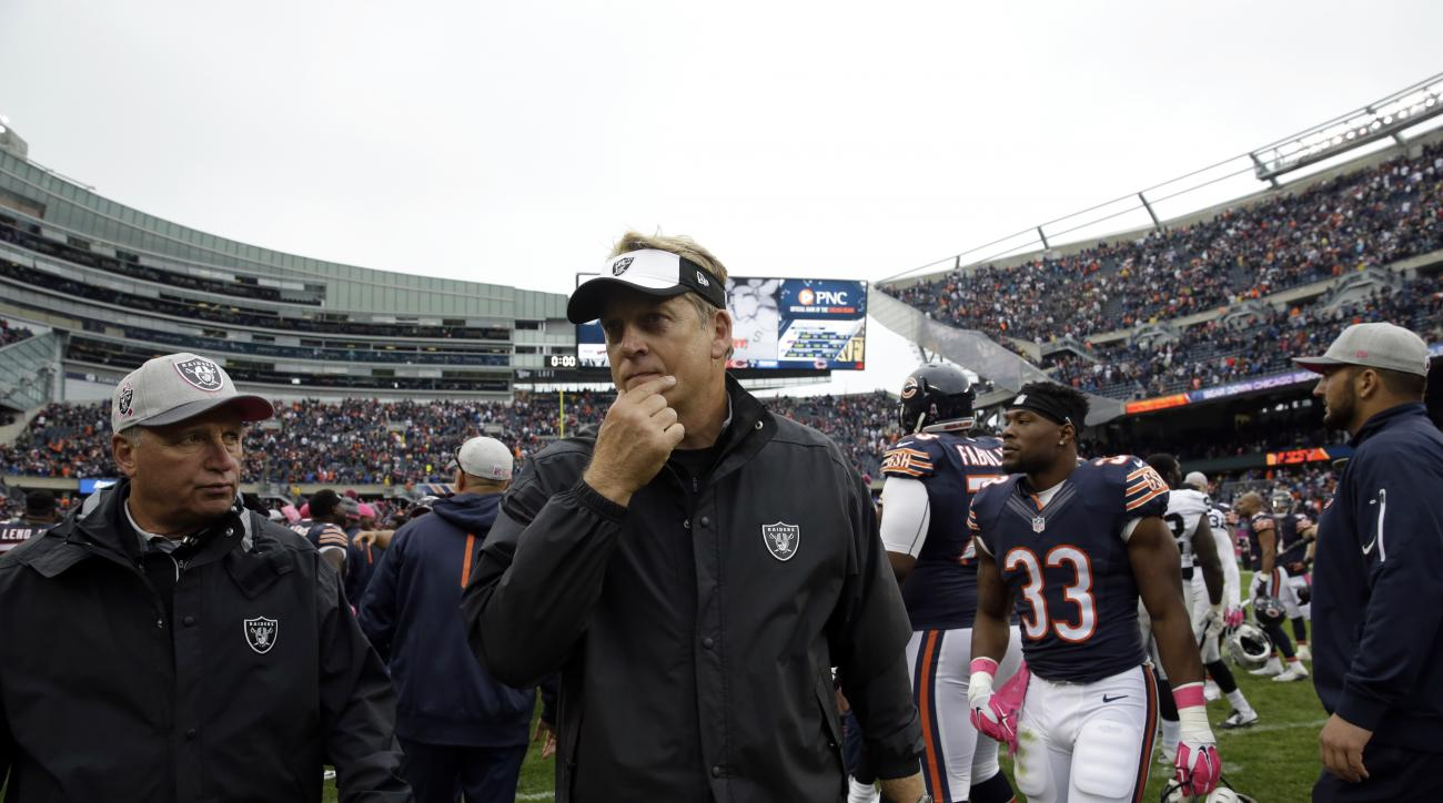 Oakland Raiders head coach Jack Del Rio walks off the field after an NFL football game against the Chicago Bears, Sunday, Oct. 4, 2015, in Chicago. The Bears won 22-20. (AP Photo/Nam Y. Huh)