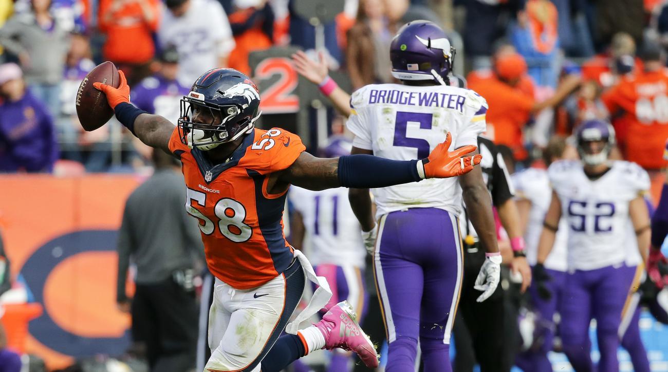 Denver Broncos outside linebacker Von Miller (58) celebrates after sacking Minnesota Vikings quarterback Teddy Bridgewater (5) during the second half of an NFL football game Sunday, Oct. 4, 2015, in Denver. (AP Photo/Jack Dempsey)