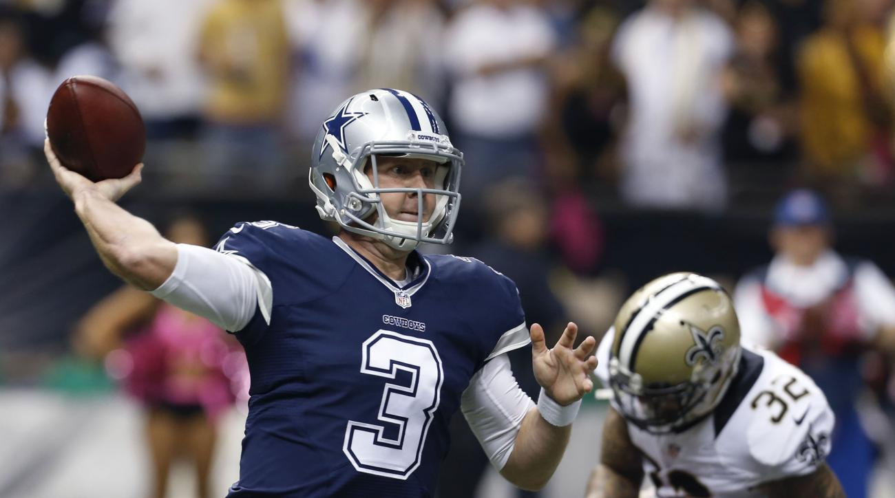 Dallas Cowboys quarterback Brandon Weeden (3) passes in the first half of an NFL football game against the New Orleans Saints in New Orleans, Sunday, Oct. 4, 2015. (AP Photo/Jonathan Bachman)