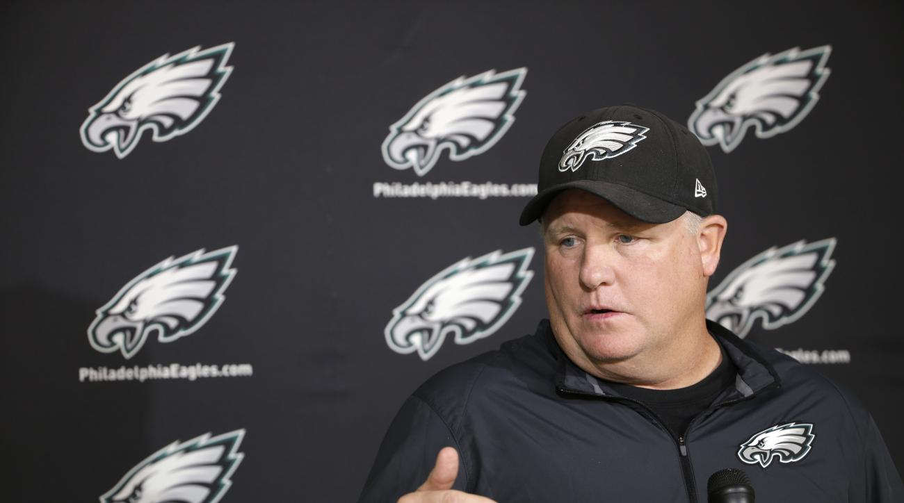 Philadelphia Eagles head coach Chip Kelly speaks with members of the media at the NFL football team's practice facility, Monday, Oct. 5, 2015, in Philadelphia. (AP Photo/Matt Rourke)