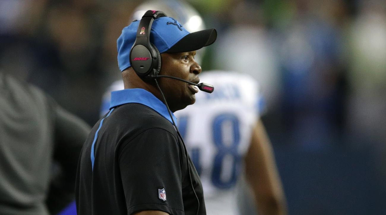 Detroit Lions head coach Jim Caldwell reacts from the sideline as officials ruled a touchback on a fumble by Lions wide receiver Calvin Johnson that went out of bounds in the end zone late in the fourth quarter of an NFL football game against the Seattle