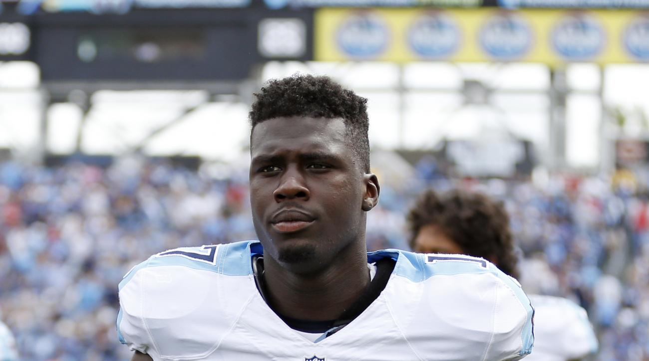 Tennessee Titans wide receiver Dorial Green-Beckham (17) walks on the sideline in the first half of an NFL football game against the Indianapolis Colts Sunday, Sept. 27, 2015, in Nashville, Tenn. (AP Photo/Weston Kenney)