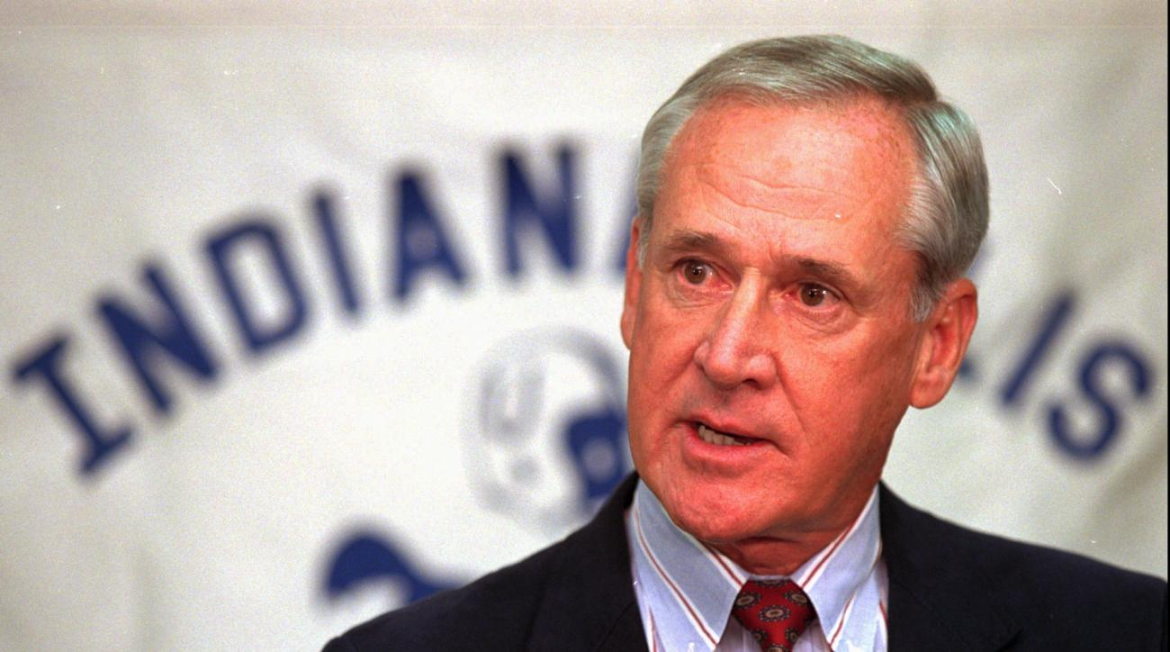 FILE - This is a Feb. 15, 1996, file photo showing Lindy Infante answering a question after he was named coach of the Indianapolis Colts during a news conference in Indianapolis. Infante died in Florida at age 75. Infante's wife Stephanie told The Associa