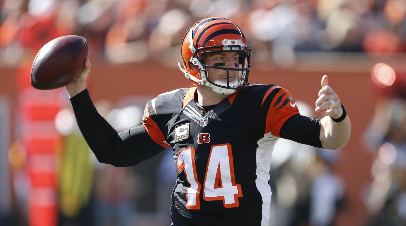 Cincinnati Bengals quarterback Andy Dalton throws in the first half of an NFL football game against the Seattle Seahawks, Sunday, Oct. 11, 2015, in Cincinnati. (AP Photo/Gary Landers)