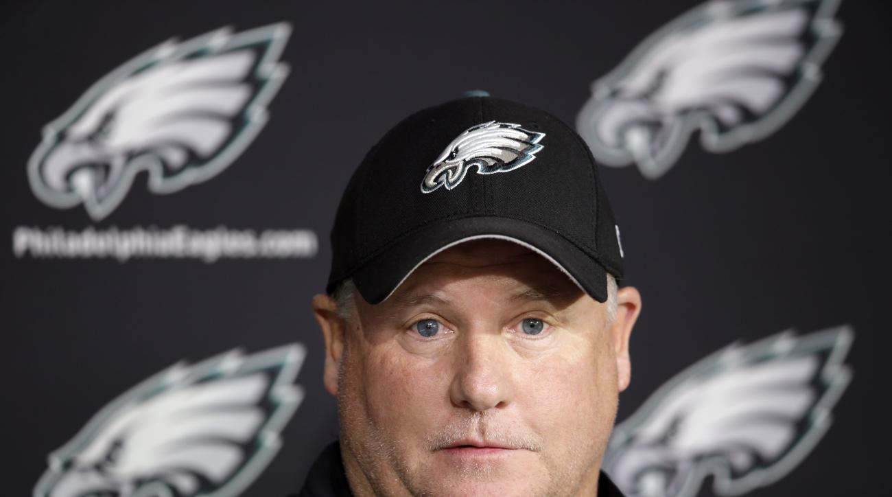 Philadelphia Eagles head coach Chip Kelly speaks with members of the media at the NFL football team's practice facility, Thursday, Oct. 15, 2015, in Philadelphia. (AP Photo/Matt Rourke)