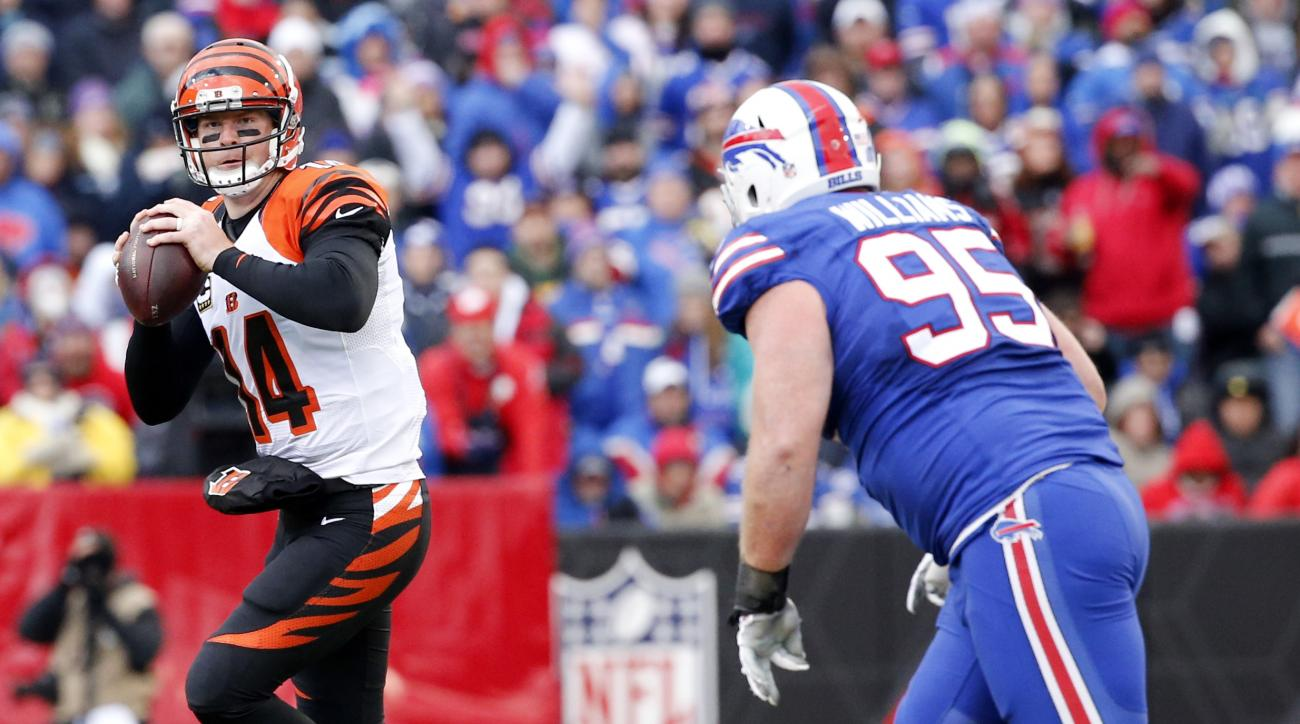 Cincinnati Bengals quarterback Andy Dalton (14) looks to pass while being pressured from Buffalo Bills defensive tackle Kyle Williams (95) during the second half of an NFL football game on Sunday, Oct. 18, 2015, in Orchard Park, N.Y. (AP Photo/Bill Wipper