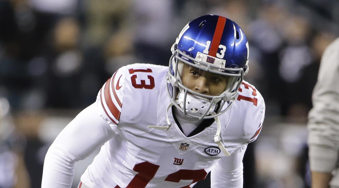 New York Giants wide receiver Odell Beckham warms up prior to an NFL football game against the Philadelphia Eagles, Monday, Oct. 19, 2015, in Philadelphia. (AP Photo/Matt Rourke)