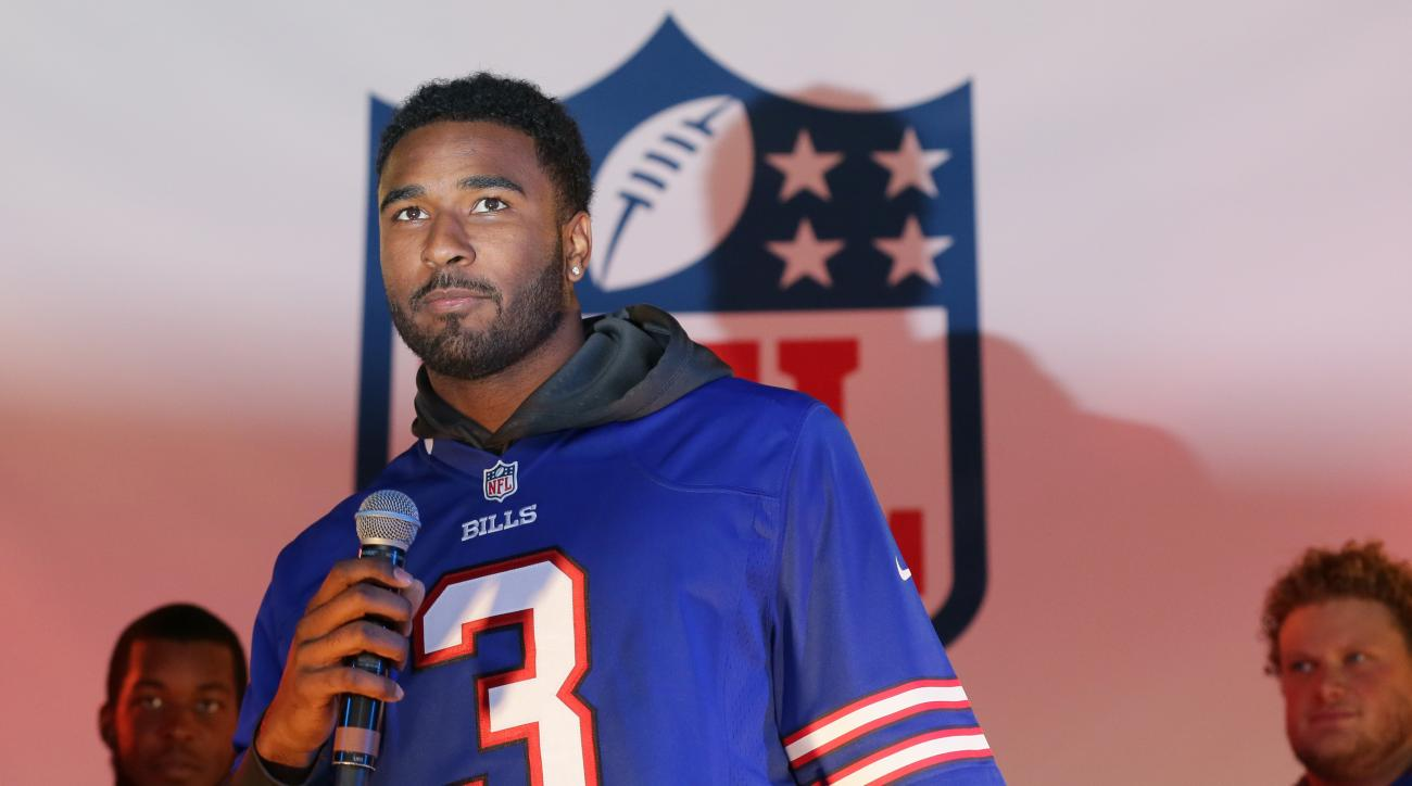 The Buffalo Bills quarterback EJ Manuel speaks on stage during an NFL fan rally on Regent Street, in London, Saturday Oct. 24, 2015. The Buffalo Bills will play the Jacksonville Jaguars in an NFL football game at London's Wembley stadium on Sunday. (AP Ph