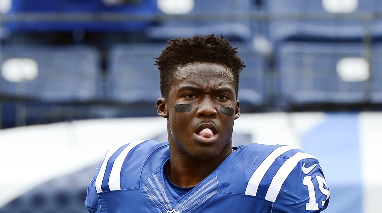 Indianapolis Colts wide receiver Phillip Dorsett warms up before an NFL football game against the Tennessee Titans Sunday, Sept. 27, 2015, in Nashville, Tenn. (AP Photo/Mark Zaleski)