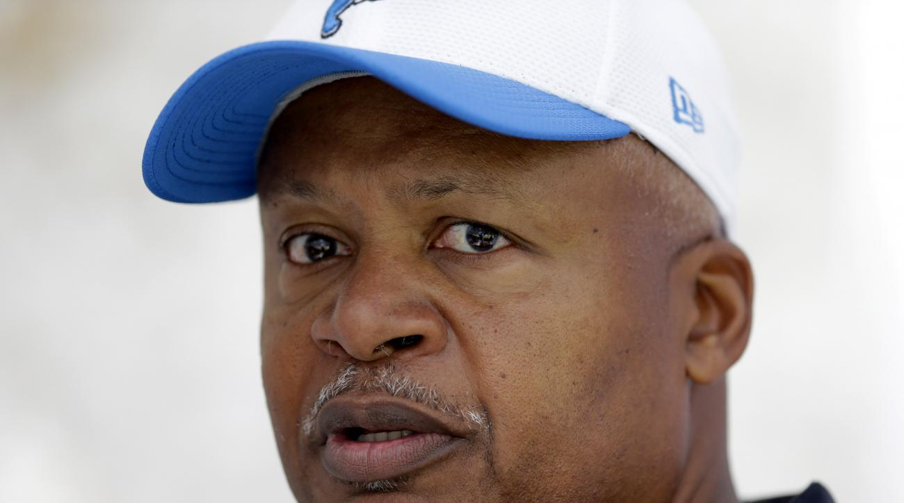Detroit Lions head coach Jim Caldwell speaks in a press conference at the Grove Hotel in Chandler's Cross, England, Wednesday, Oct. 28, 2015.  The Detroit Lions are due to play the Kansas City Chiefs at Wembley stadium in London on Sunday in a regular sea