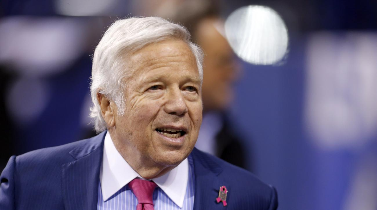 New England Patriots owner Robert Kraft roams the sidelines before an NFL football game against the Indianapolis Colts in Indianapolis, Sunday, Oct. 18, 2015. (AP Photo/AJ Mast)