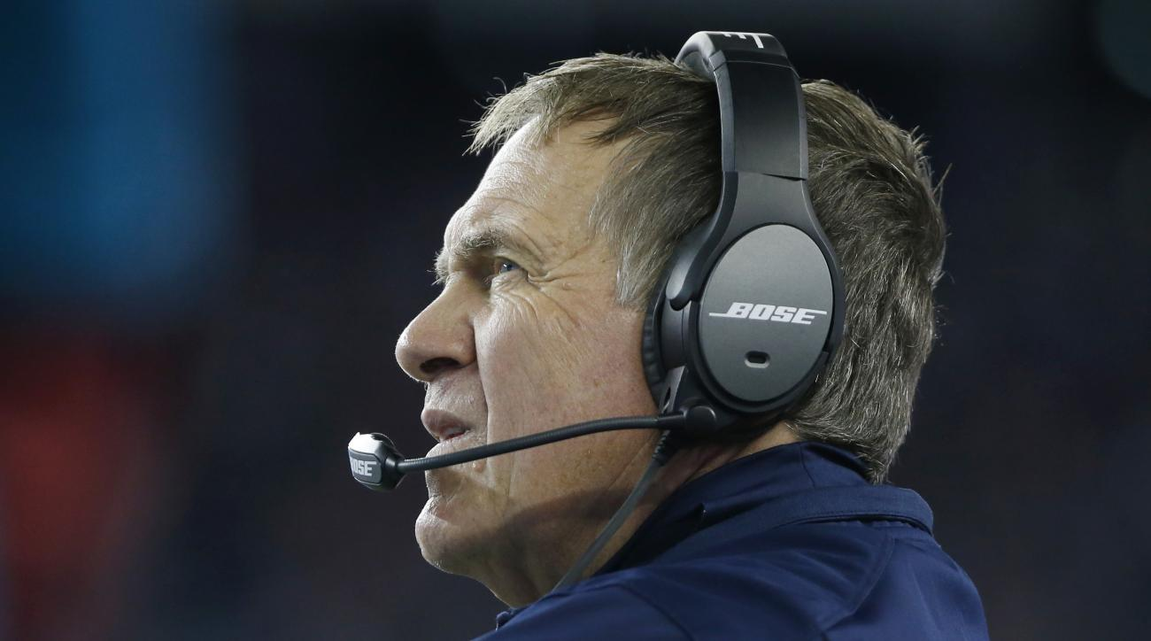 New England Patriots head coach Bill Belichick watches the action from the sideline in the first half of an NFL football game against the Miami Dolphins, Thursday, Oct. 29, 2015, in Foxborough, Mass. (AP Photo/Michael Dwyer)