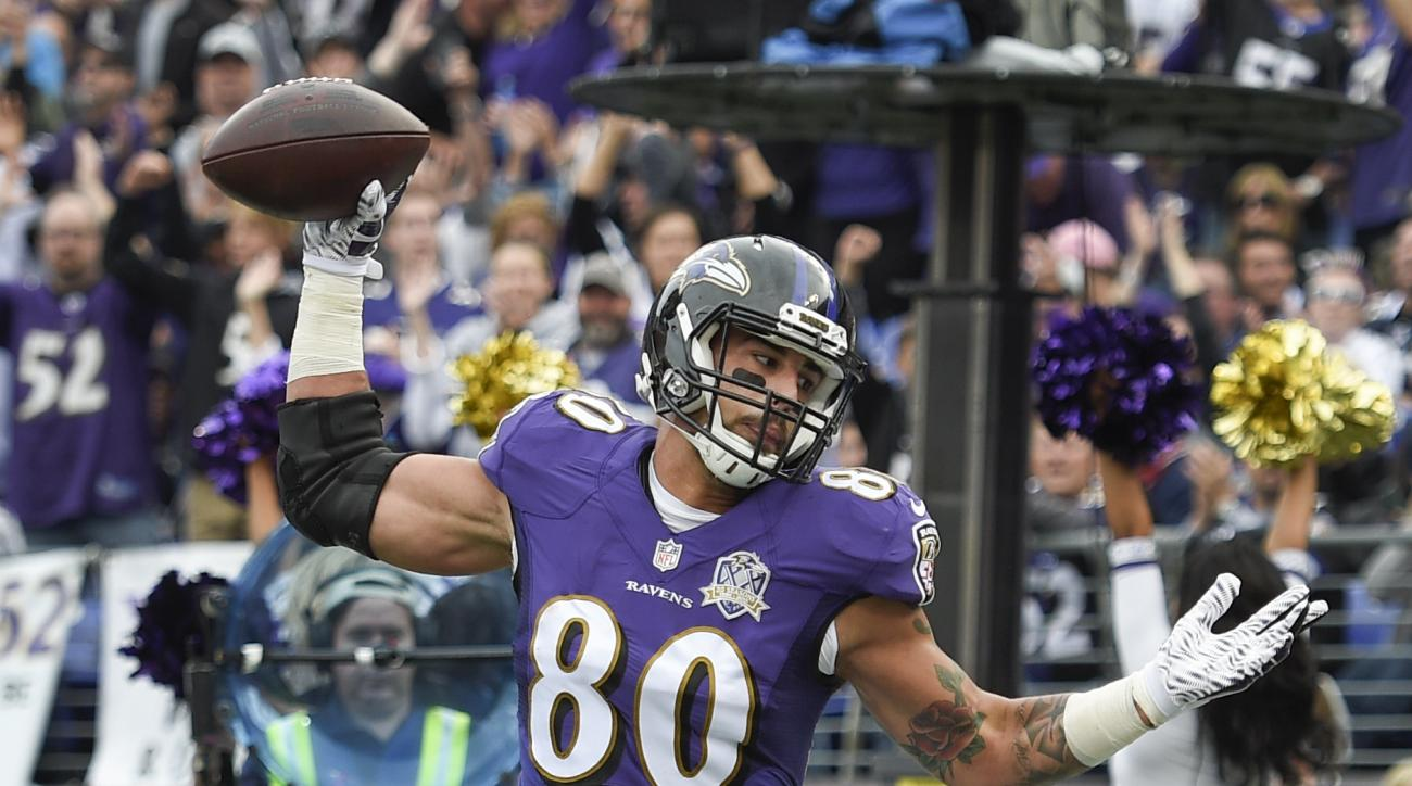 Baltimore Ravens tight end Crockett Gillmore (80) celebrates his touchdown during the first half of an NFL football game against the San Diego Chargers in Baltimore, Sunday, Nov. 1, 2015. (AP Photo/Nick Wass)