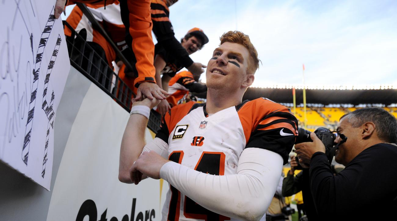 Cincinnati Bengals quarterback Andy Dalton (14) greets fans following an NFL football game on Sunday, Nov. 1, 2015, in Pittsburgh. Cincinnati won 16-10. (AP Photo/Don Wright)