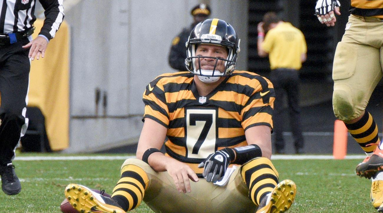 Pittsburgh Steelers quarterback Ben Roethlisberger (7) sits on the field after being knocked down after getting a pass away in the fourth quarter of an NFL football game against the Cincinnati Bengals, Sunday, Nov. 1, 2015, in Pittsburgh. The Bengals won