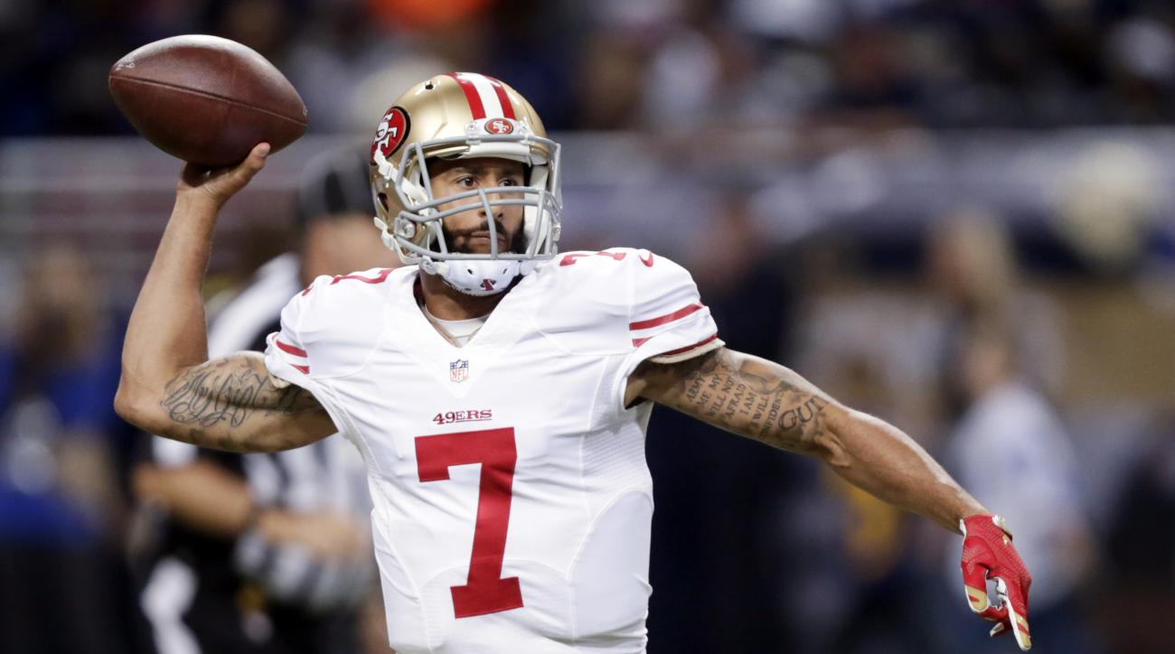 FILE - In this Nov. 1, 2015, file photo, San Francisco 49ers quarterback Colin Kaepernick throws during the first quarter of an NFL football game against the St. Louis Rams in St. Louis. A person with knowledge of the decision said quarterback Kaepernick