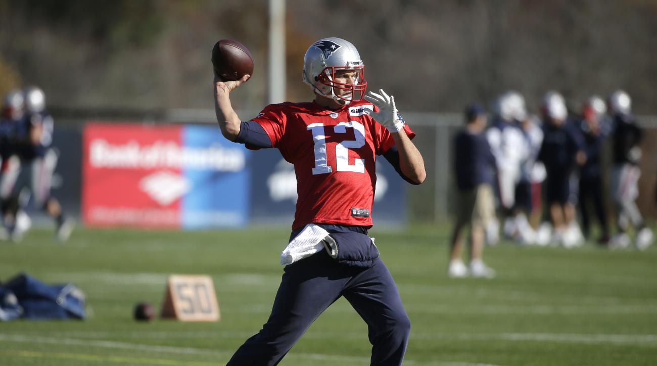 New England Patriots quarterback Tom Brady winds up for a pass during an NFL football practice, Wednesday, Nov. 4, 2015, in Foxborough, Mass. The Washington Redskins are to play the Patriots Sunday, Nov. 8, 2015, in Foxborough. (AP Photo/Steven Senne)
