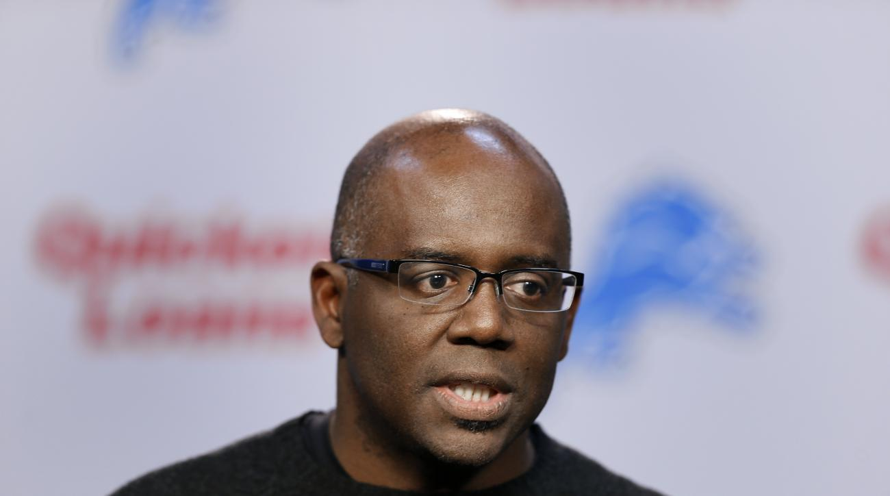 FILE - In this March 11, 2015 file photo, Detroit Lions general manager Martin Mayhew speaks in Allen Park, Mich. The Detroit Lions fired president Tom Lewand and Mayhew,  Thursday, Nov. 5, 2015. (AP Photo/Paul Sancya)