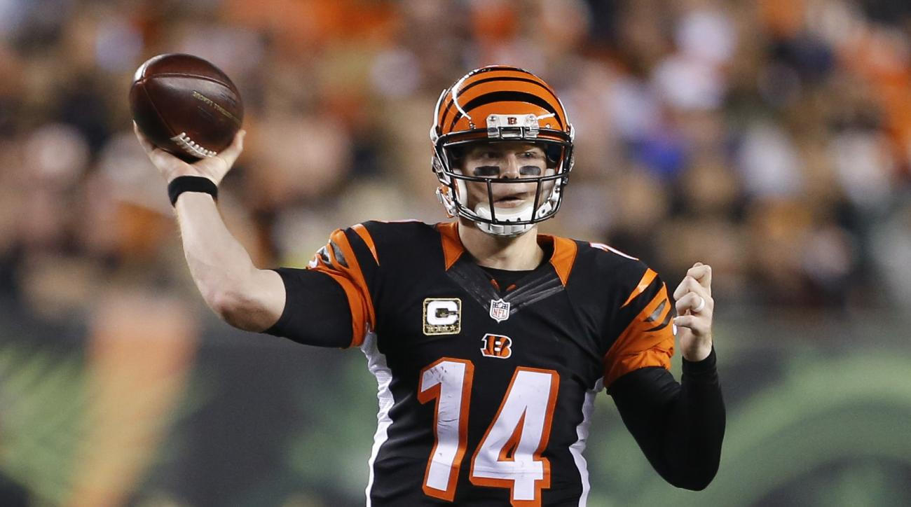 Cincinnati Bengals quarterback Andy Dalton throws during the second half of an NFL football game against the Cleveland Browns, Thursday, Nov. 5, 2015, in Cincinnati. (AP Photo/Gary Landers)