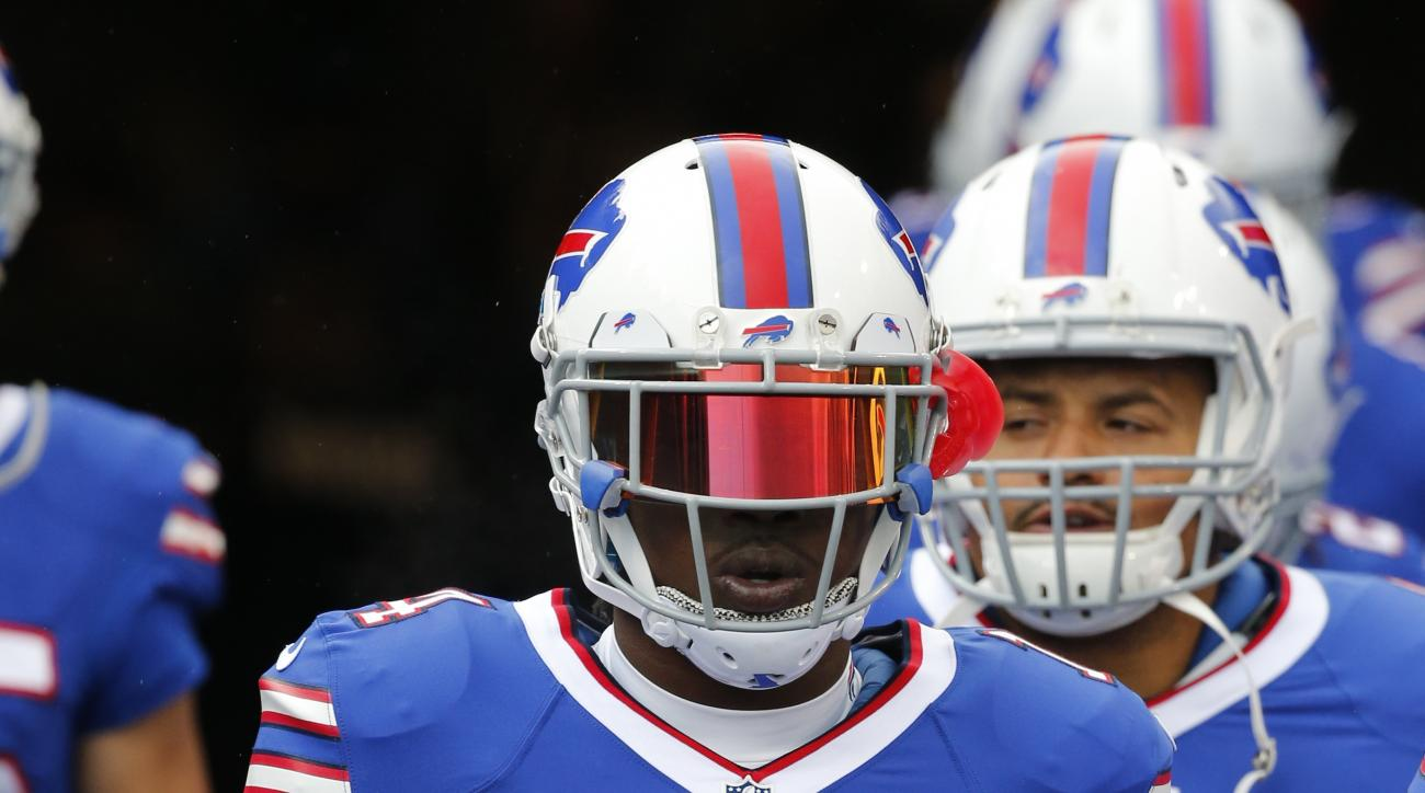 Buffalo Bills wide receiver Sammy Watkins (14)  walks to the field for warm ups before an NFL football game against the Cincinnati Bengals on Sunday, Oct. 18, 2015, in Orchard Park, N.Y. (AP Photo/Bill Wippert)