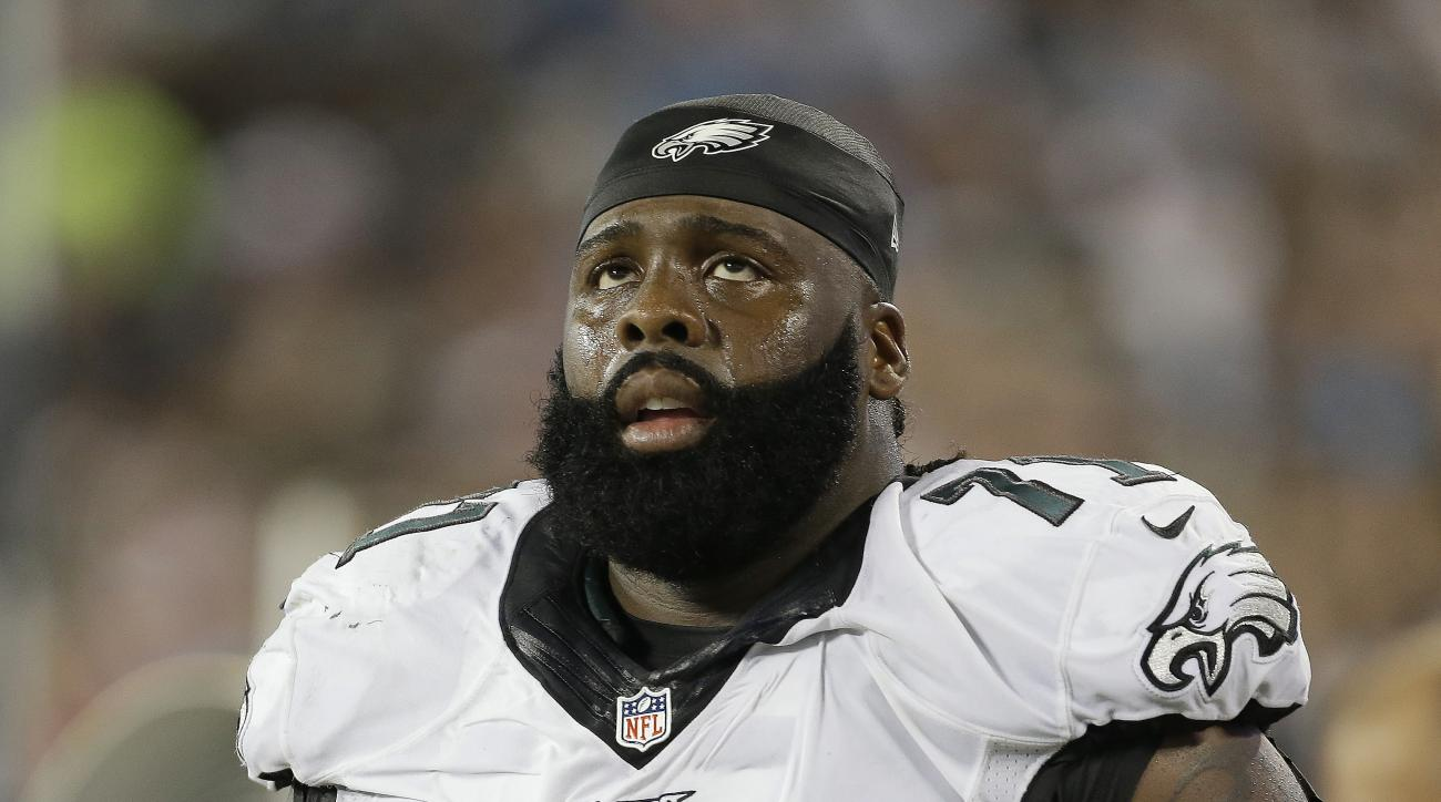 Philadelphia Eagles' Jason Peters (71) on the sidelines during the first half of an NFL football game against the Carolina Panthers in Charlotte, N.C., Sunday, Oct. 25, 2015. The Panthers won 27-16. (AP Photo/Bob Leverone)