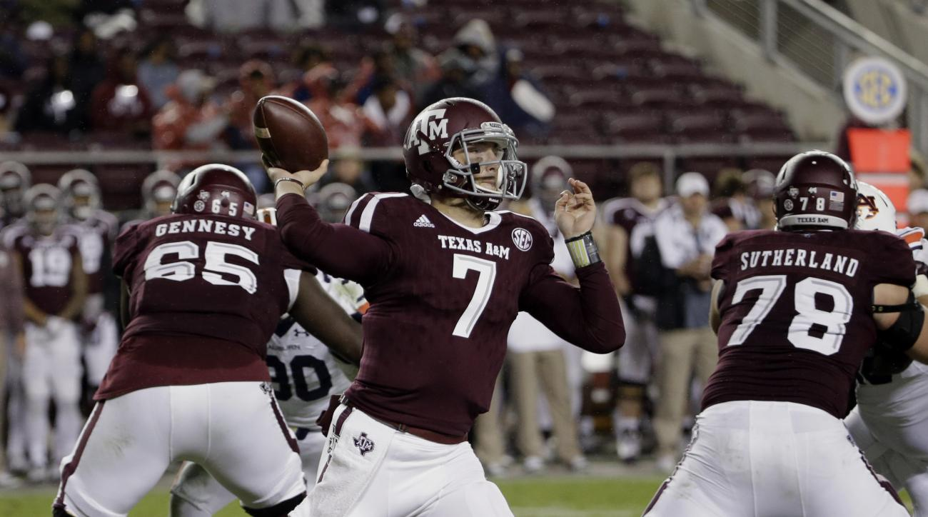 Texas A&M quarterback Jake Hubenak (7) throws a pass against Auburn during the second half of an NCAA college football game, Saturday, Nov. 7, 2015, in College Station, Texas. Auburn won 26-10. (AP Photo/David J. Phillip)
