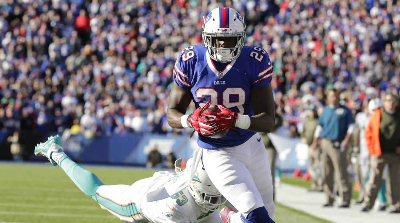 Buffalo Bills running back Karlos Williams (29) rushes past Miami Dolphins' Jelani Jenkins (53) for a touchdown during the first half of an NFL football game Sunday, Nov. 8, 2015, in Orchard Park, N.Y. (AP Photo/Bill Wippert)