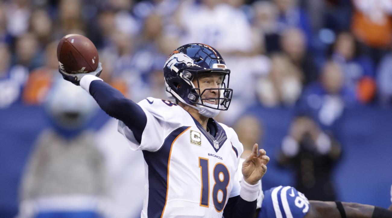 Denver Broncos' Peyton Manning throws during the first half of an NFL football game against the Indianapolis Colts, Sunday, Nov. 8, 2015, Indianapolis. (AP Photo/AJ Mast)