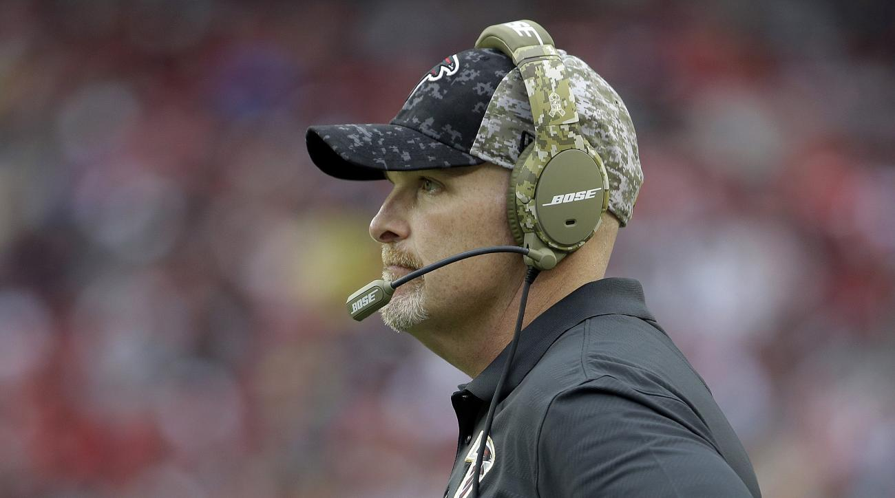 Atlanta Falcons head coach Dan Quinn stands on the sideline during the second half of an NFL football game against the San Francisco 49ers in Santa Clara, Calif., Sunday, Nov. 8, 2015. (AP Photo/Marcio Jose Sanchez)