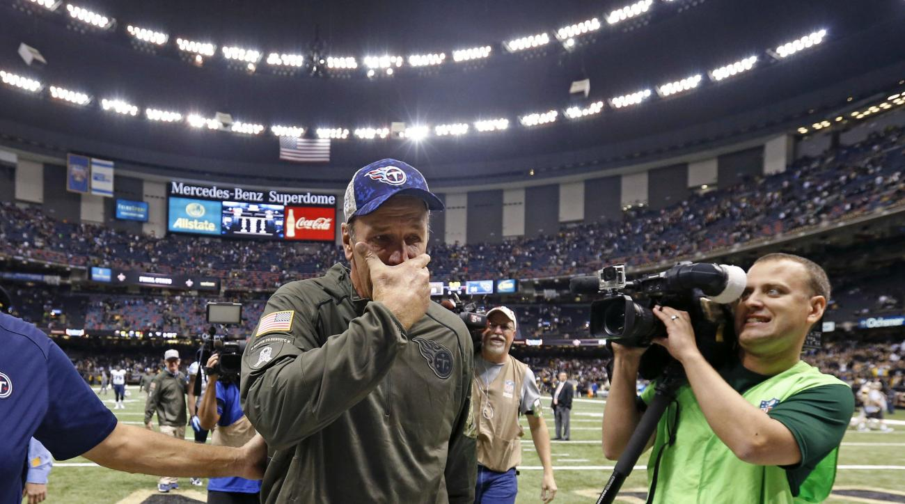 Tennessee Titans interim head coach Mike Mularkey reacts as he walks off the field after their overtime victory over the New Orleans Saints in an NFL football game in New Orleans, Sunday, Nov. 8, 2015. The Titans won 34-28.  (AP Photo/Jonathan Bachman)