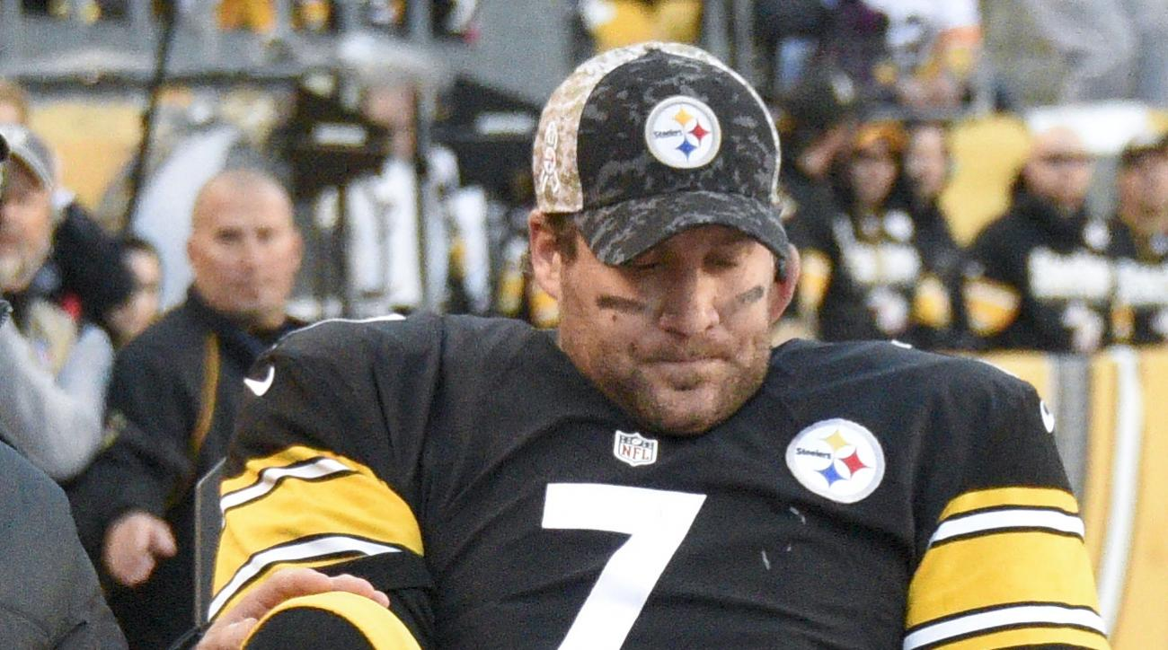 FILE - In this Nov. 8, 2015, file photo, Pittsburgh Steelers quarterback Ben Roethlisberger (7) is taken away on a cart after being injured in an NFL football game against the Oakland Raiders, in Pittsburgh. Roethlisberger already missed four games with a