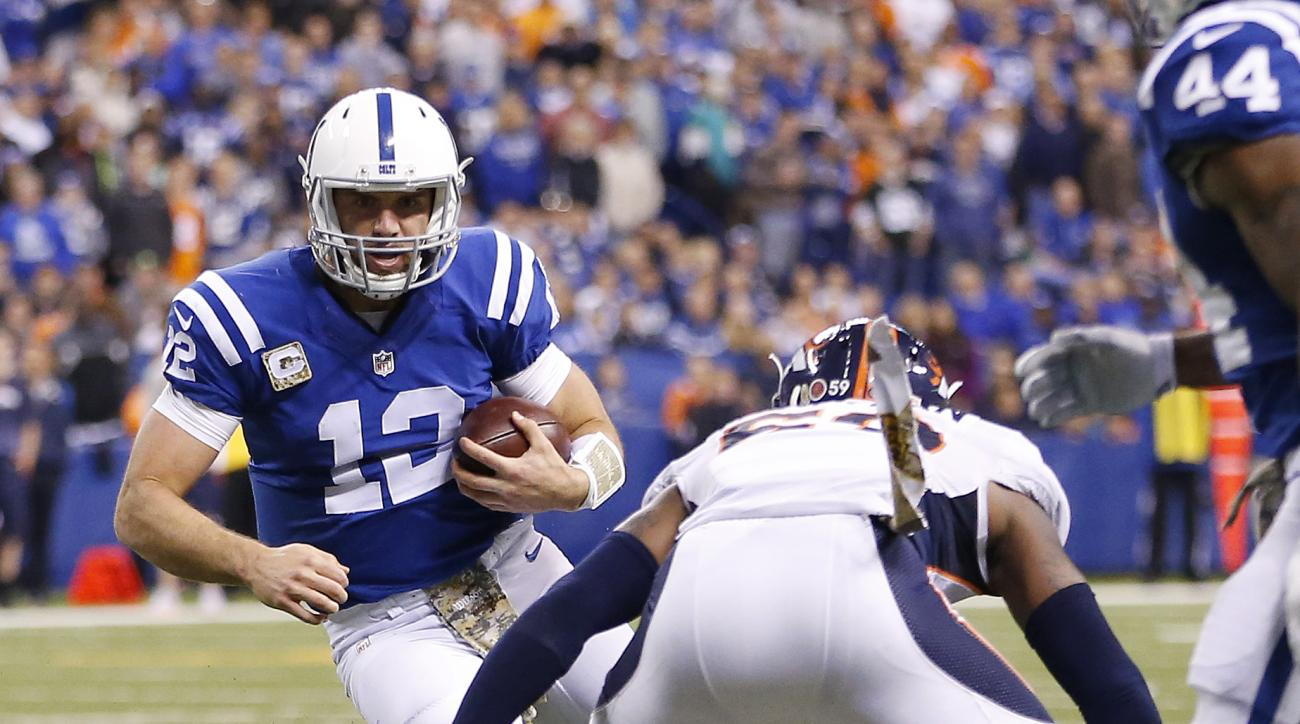Indianapolis Colts quarterback Andrew Luck (12) is tackled by Denver Broncos' Danny Trevathan following a run early in the fourth quarter of an NFL football game Sunday, Nov. 8, 2015, in Indianapolis. Luck is expected to miss two to six weeks after sustai