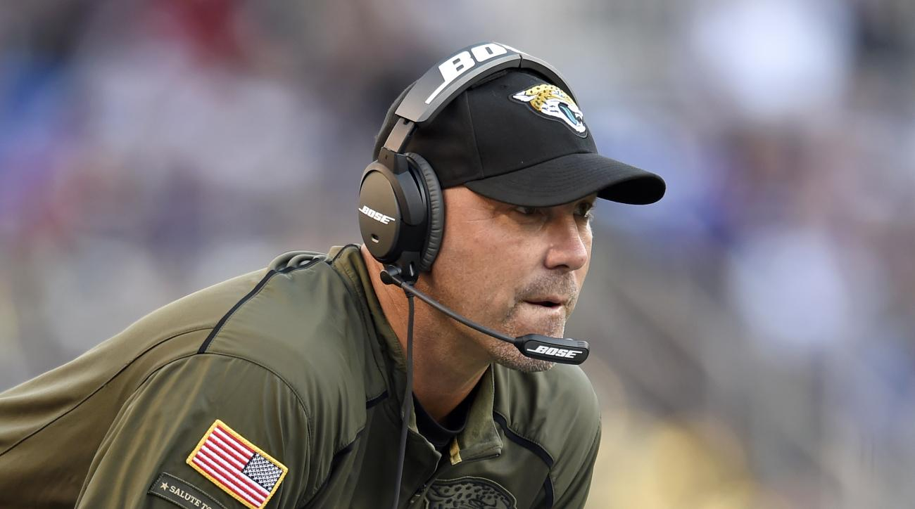 Jacksonville Jaguars head coach Gus Bradley watches the second half an NFL football gameagainst the Baltimore Ravens, Sunday, Nov. 15, 2015, in Baltimore. (AP Photo/Gail Burton)