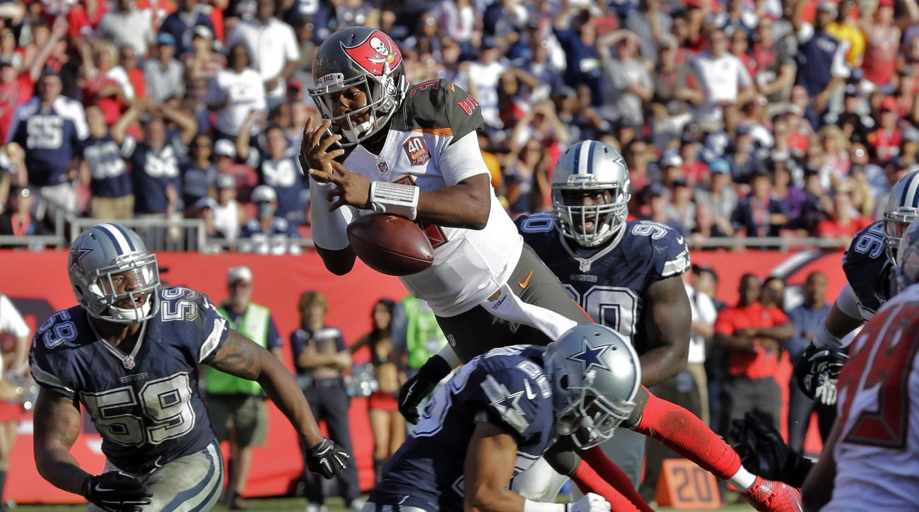 Tampa Bay Buccaneers quarterback Jameis Winston (3) fumbles the football as he gets hit by Dallas Cowboys defensive back Tyler Patmon during the fourth quarter of an NFL football game Sunday, Nov. 15, 2015, in Tampa, Fla. Dallas was called for holding on