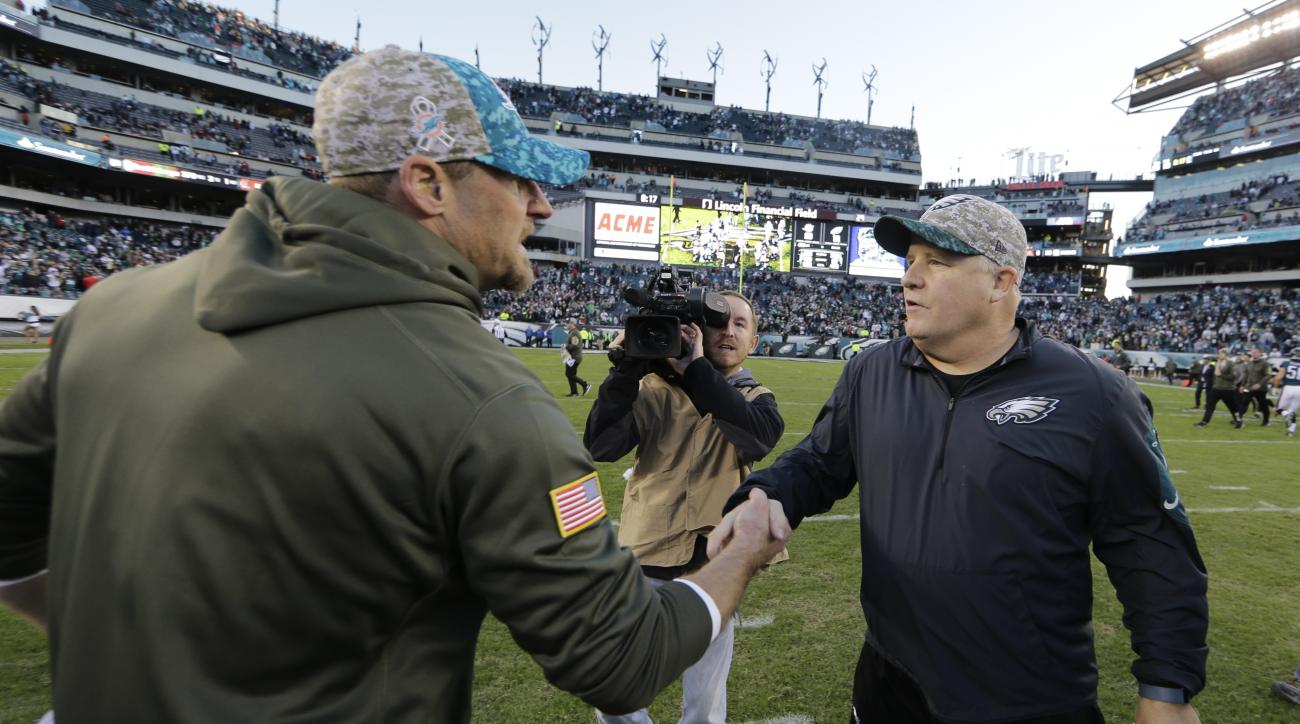 Philadelphia Eagles head coach Chip Kelly, right, and Miami Dolphins head coach Dan Campbell meet after an NFL football game, Sunday, Nov. 15, 2015, in Philadelphia. Miami won 20-19. (AP Photo/Matt Rourke)