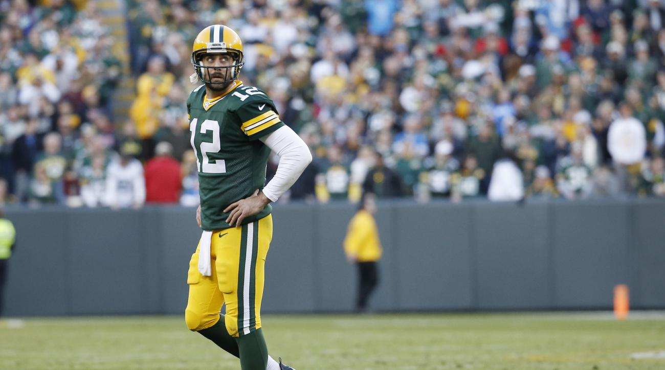 Green Bay Packers' Aaron Rodgers looks back as he walk off the field during the second half of an NFL football game against the Detroit Lions Sunday, Nov. 15, 2015, in Green Bay, Wis. The Lions won 18-16. (AP Photo/Morry Gash)