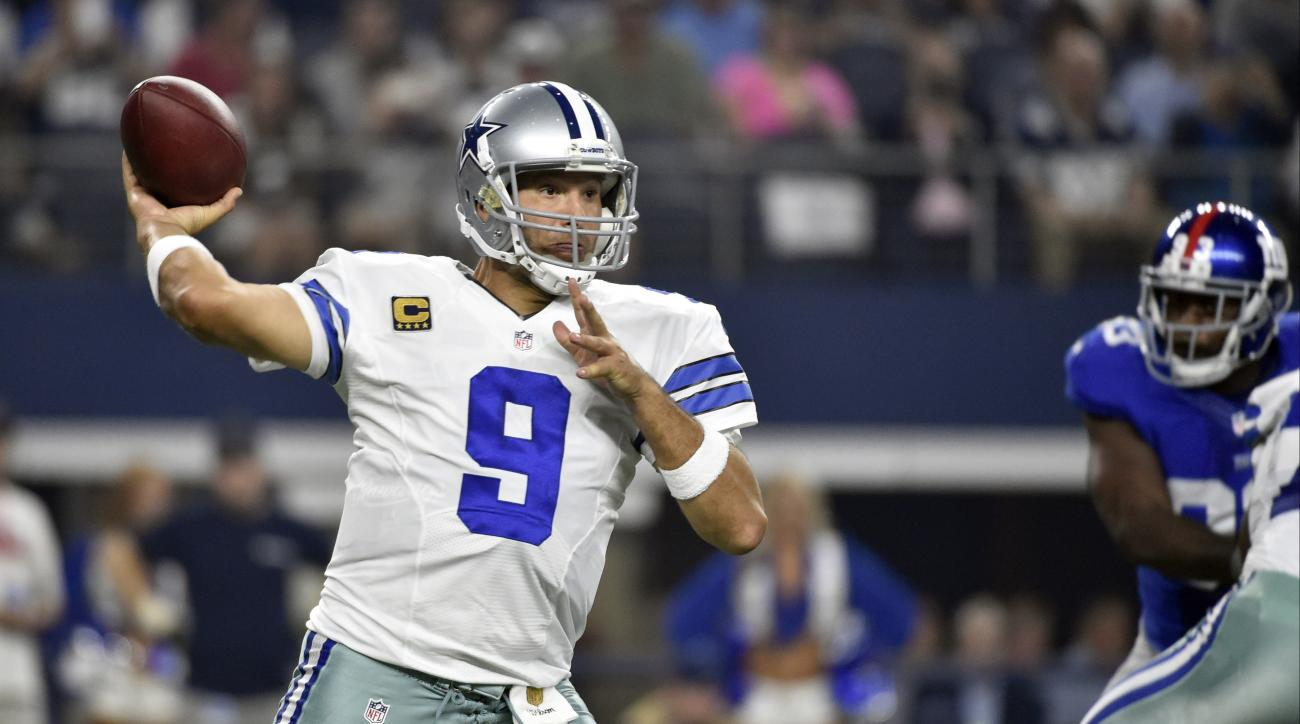 FILE - In this Sunday, Sept. 13, 2015 file photo, Dallas Cowboys quarterback Tony Romo (9) looks to pass against the New York Giants during the first half of an NFL football game in Arlington, Texas. Rested but rusty, Romo is expected to start Sunday, Nov