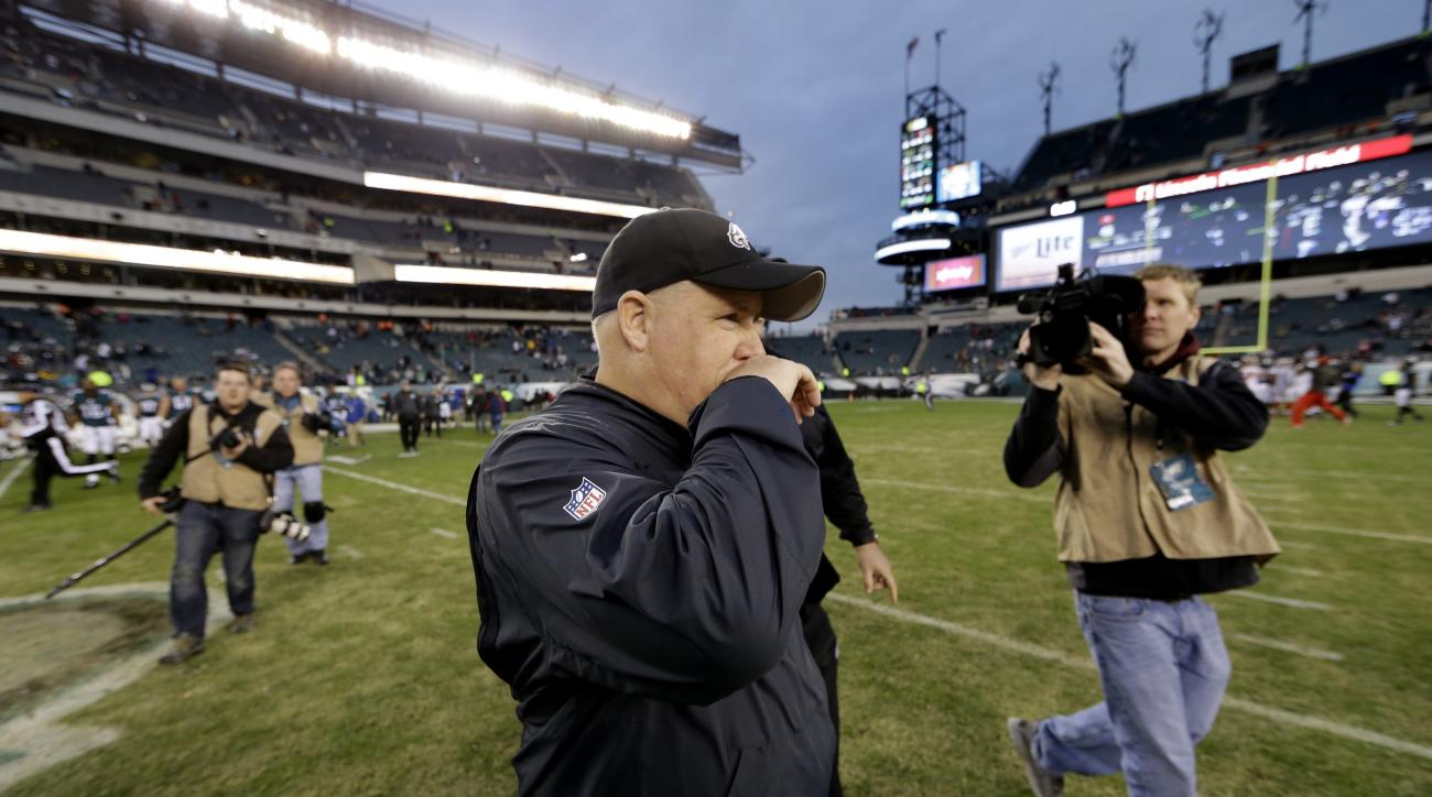 Philadelphia Eagles head coach Chip Kelly walks the field after an NFL football game against the Tampa Bay Buccaneers, Sunday, Nov. 22, 2015, in Philadelphia. Tampa Bay won 45-17. (AP Photo/Matt Rourke)