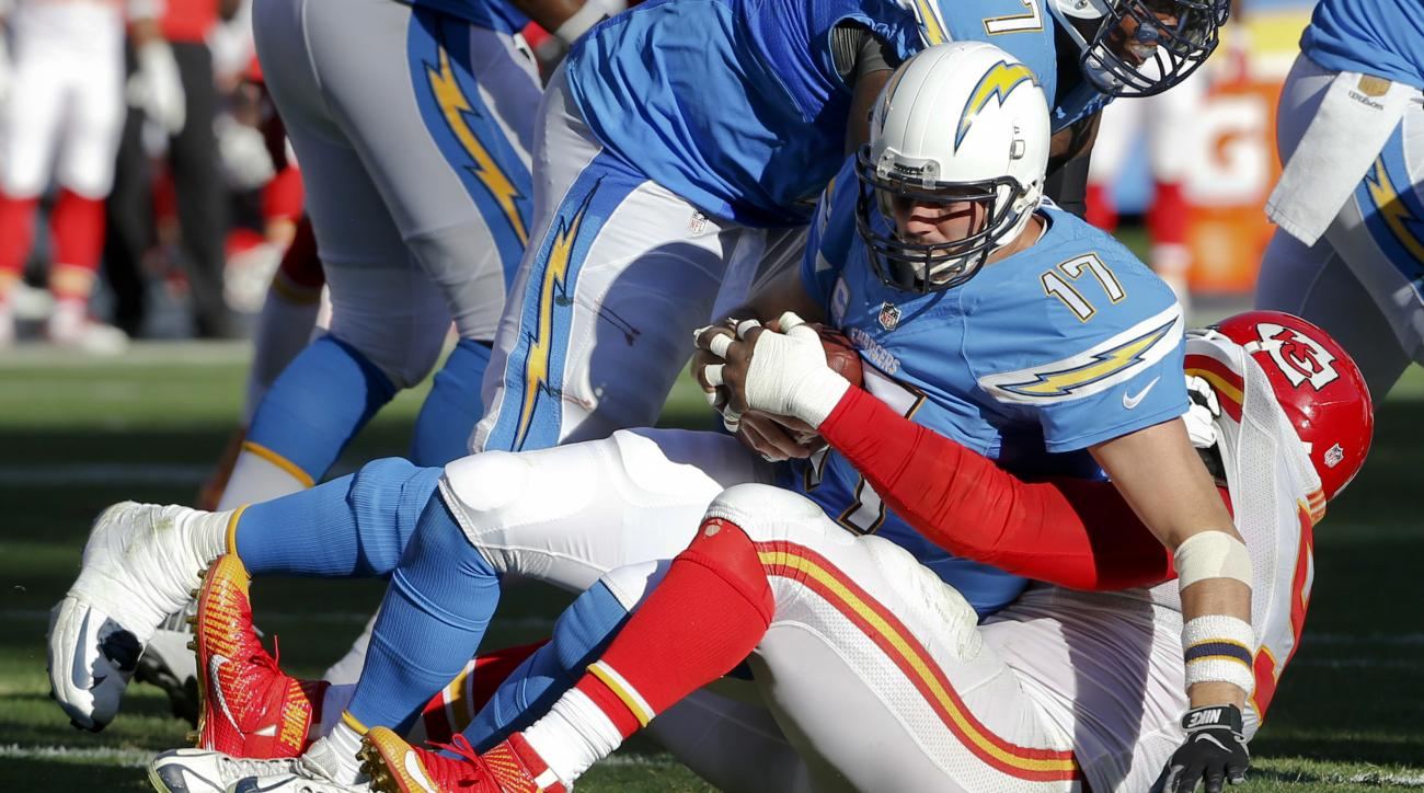 San Diego Chargers quarterback Philip Rivers (17) is sacked by Kansas City Chiefs outside linebacker Tamba Hali, bottom, during the second half of an NFL football game Sunday, Nov. 22, 2015, in San Diego. The Chiefs won 33-3. (AP Photo/Lenny Ignelzi)