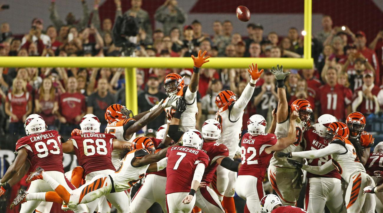 Arizona's Chandler Catanzaro kicks the game-winning 32 yard field goal against the Bengals in the second half of an NFL football game Sunday, Nov. 22, 2015 in Glendale, Ariz. (Rob Schumacher/The Arizona Republic via AP)