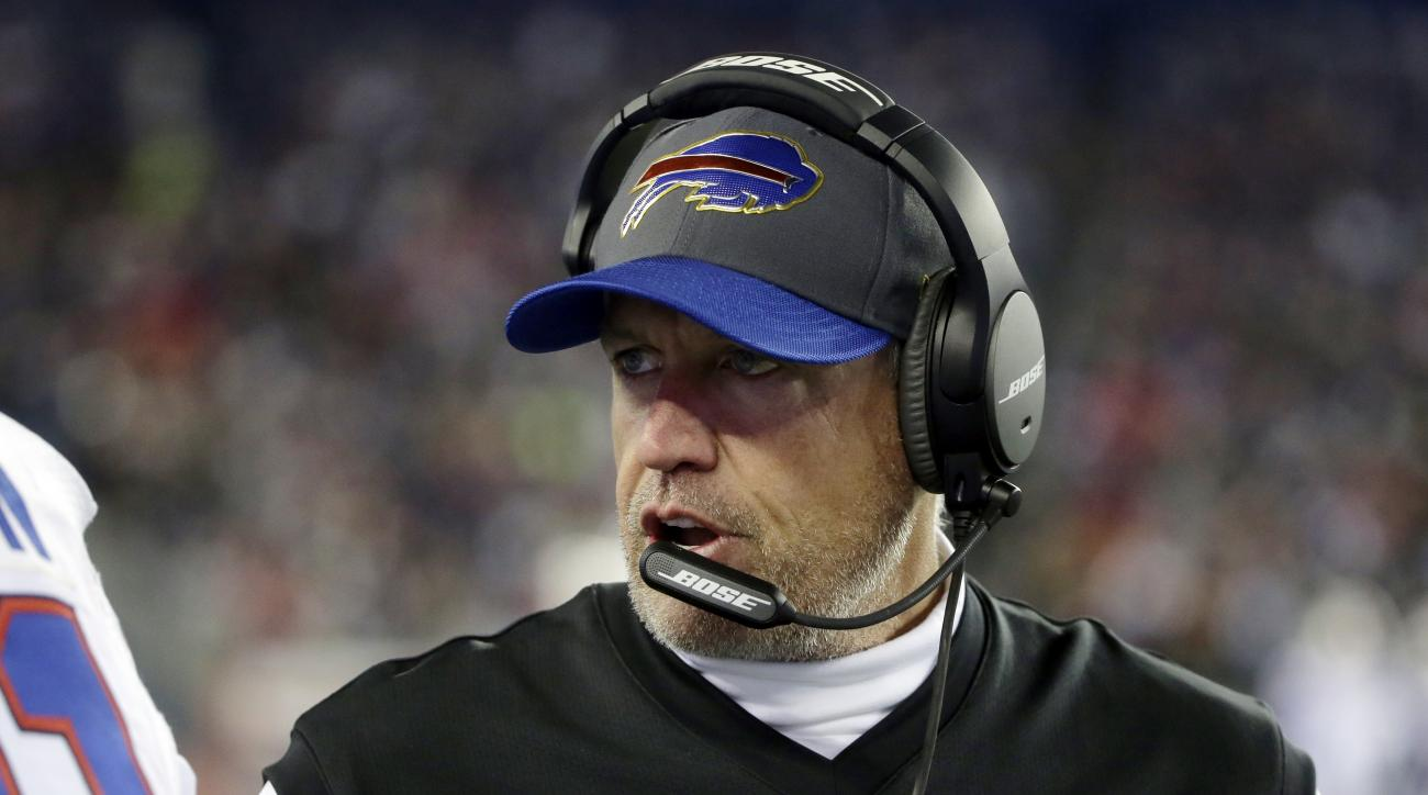 Buffalo Bills head coach Rex Ryan instructs his team on the sideline in the first half of an NFL football game against the New England Patriots, Monday, Nov. 23, 2015, in Foxborough, Mass. (AP Photo/Steven Senne)