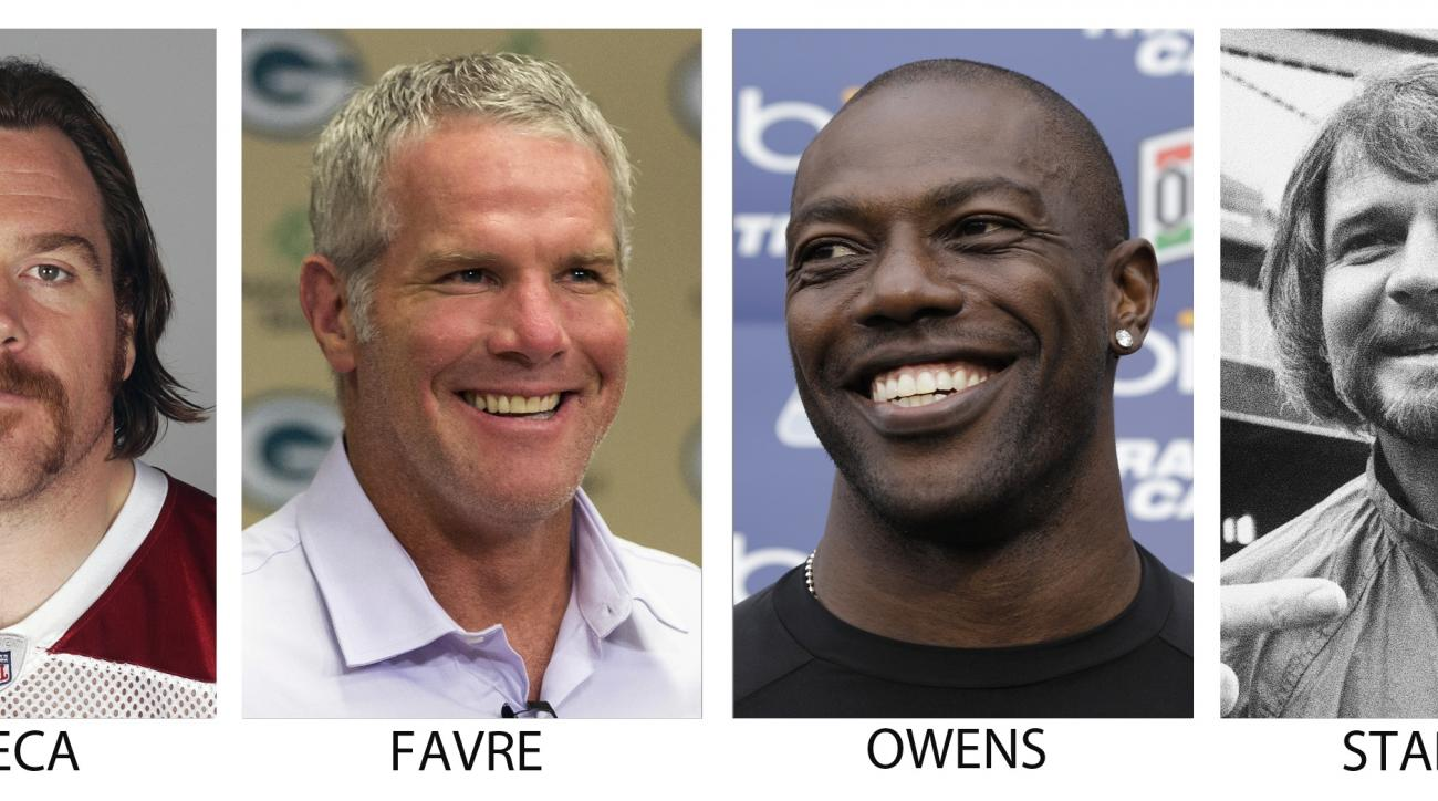 From left are file photos showing Morten Andersen, in 2009; Alan Faneca, in 2009; Brett Favre, in 2015; Terrell Owens, in 2012;Ken Stabler, in 1977 and Kurt Warner, in 2012. Brett Favre, Terrell Owens and Alan Faneca are semifinalists for the Pro Football
