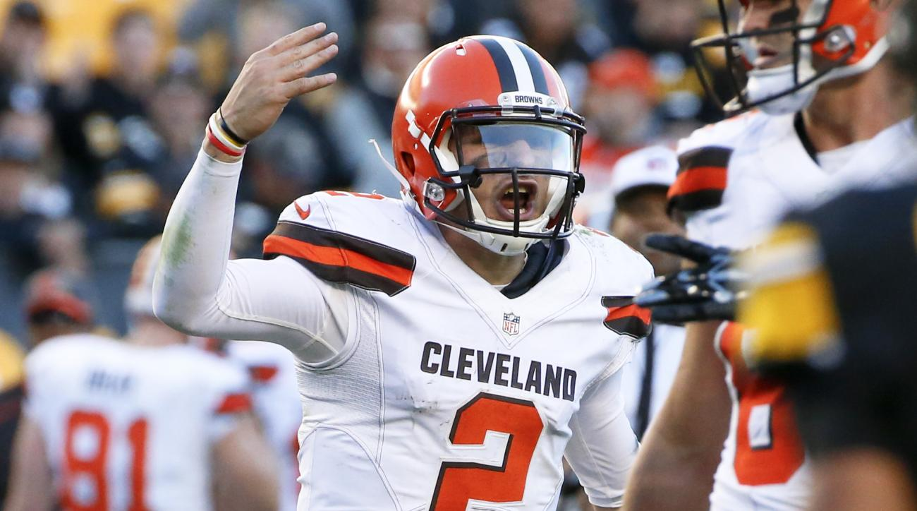 FILE - In this Nov. 15, 2015, file photo, Cleveland Browns quarterback Johnny Manziel (2) plays during an NFL football game against the Pittsburgh Steelers, in Pittsburgh.  Browns coach Mike Pettine says he benched Johnny Manziel because the quarterback v