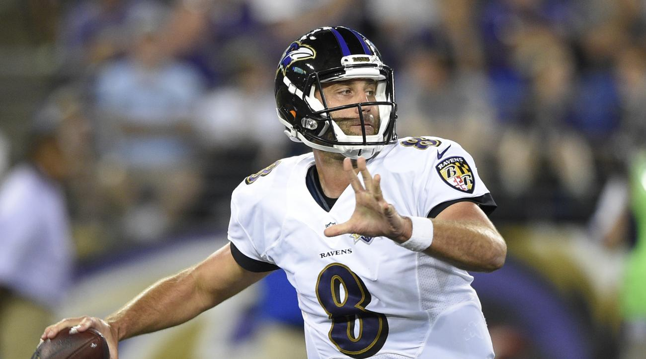 FILE - In this Aug. 13, 2015, file photo, Baltimore Ravens quarterback Matt Schaub prepares to throw a pass during an NFL preseason football game against the New Orleans Saints in Baltimore. Schaub steps in for an injured Joe Flacco when the Ravens face t