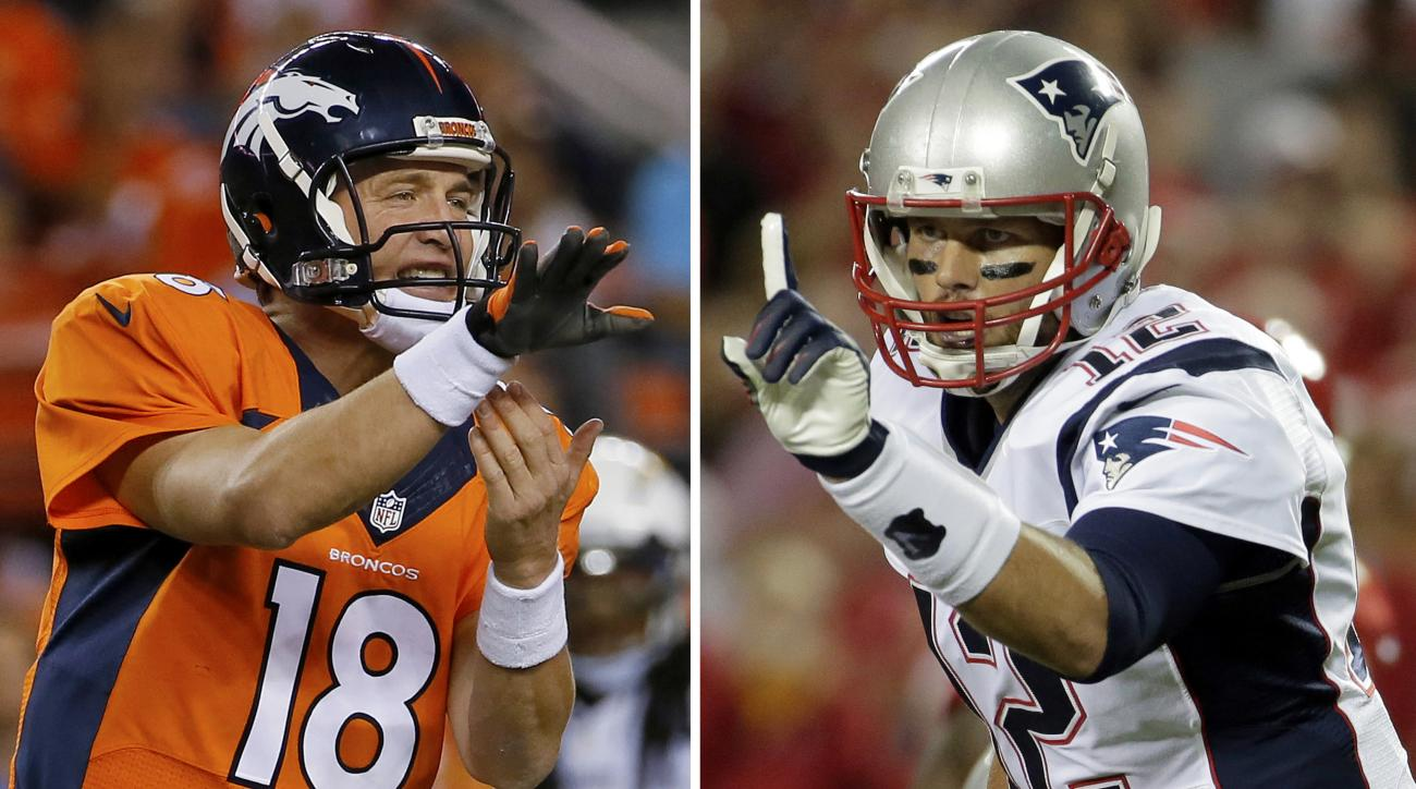 FILE - At left, in an Oct. 23, 2014, file photo, Denver Broncos quarterback Peyton Manning calls a play against the San Diego Chargers during an NFL football game in Denver. At right, in a Sept. 29, 2014, file photo, New England Patriots quarterback Tom B