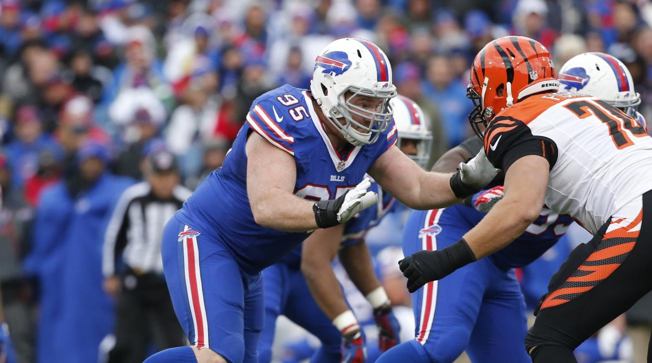 Buffalo Bills defensive end Kyle Williams (95) moves against Cincinnati Bengals tackle Jake Fisher (74) during the second half of an NFL football game on Sunday, Oct. 18, 2015, in Orchard Park, N.Y. (AP Photo/Bill Wippert)