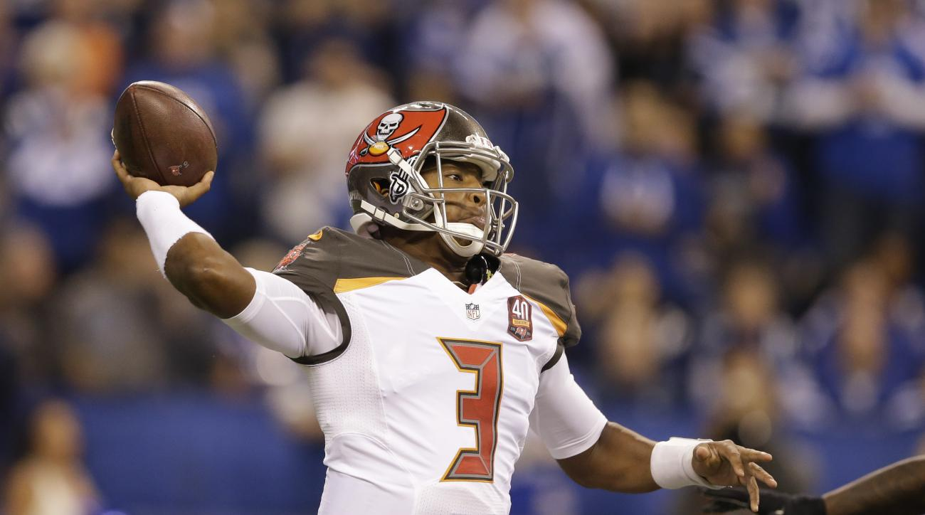 Tampa Bay Buccaneers quarterback Jameis Winston (3) prepares to throw against the Indianapolis Colts during the first half of an NFL football game in Indianapolis, Sunday, Nov. 29, 2015. (AP Photo/Darron Cummings)