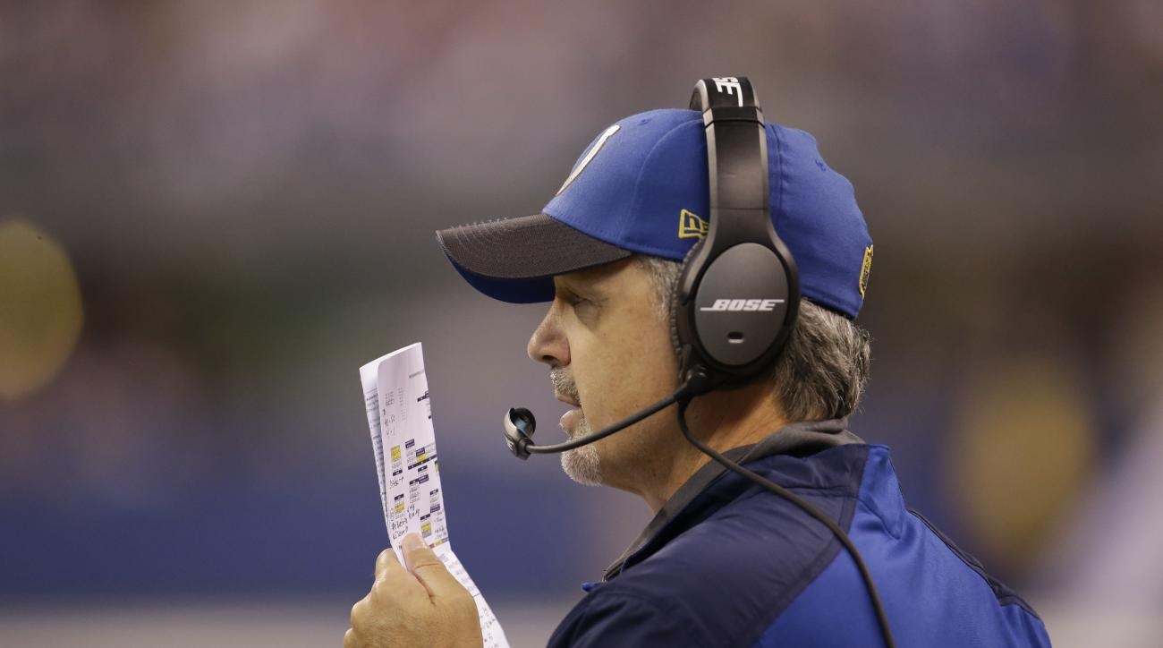 Indianapolis Colts head coach Chuck Pagano  looks on during the first half of an NFL football game against the Tampa Bay Buccaneers in Indianapolis, Sunday, Nov. 29, 2015. (AP Photo/AJ Mast)